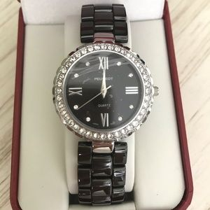 Peugeot Women's Crystal Black Ceramic Watch